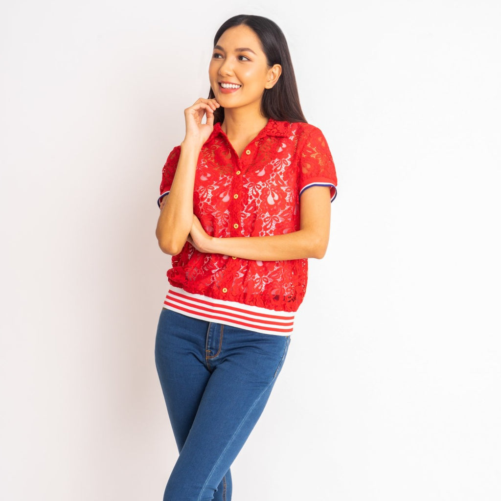 WB-FAITH-RED-FRONT short sleeves collared button down blouse with flatknit on sleeves and waistband
