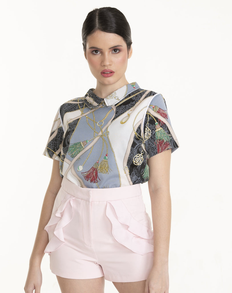 WB-FINELA-PRINTEDGRAY-FRONT Short sleeves collared blouse with back keyhole