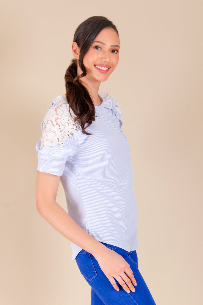WB-GRETHEL-BLUESTRIPES-SIDE Short sleeves round neck raglan blouse with ruffles