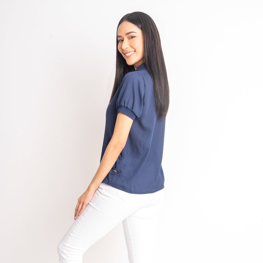 WB-GUIA-NAVY-BACK  Short sleeves collared button down blouse w/ smocking on sleeves