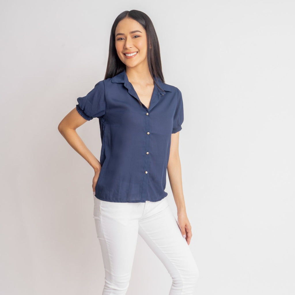 WB-GUIA-NAVY-FRONT Short sleeves collared button down blouse w/ smocking on sleeves