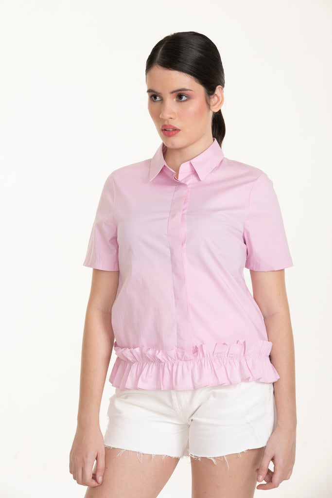 WB-HAZEL-PINK-FRONT_ Short sleeves collared button down blouse with ruffles detail on hem
