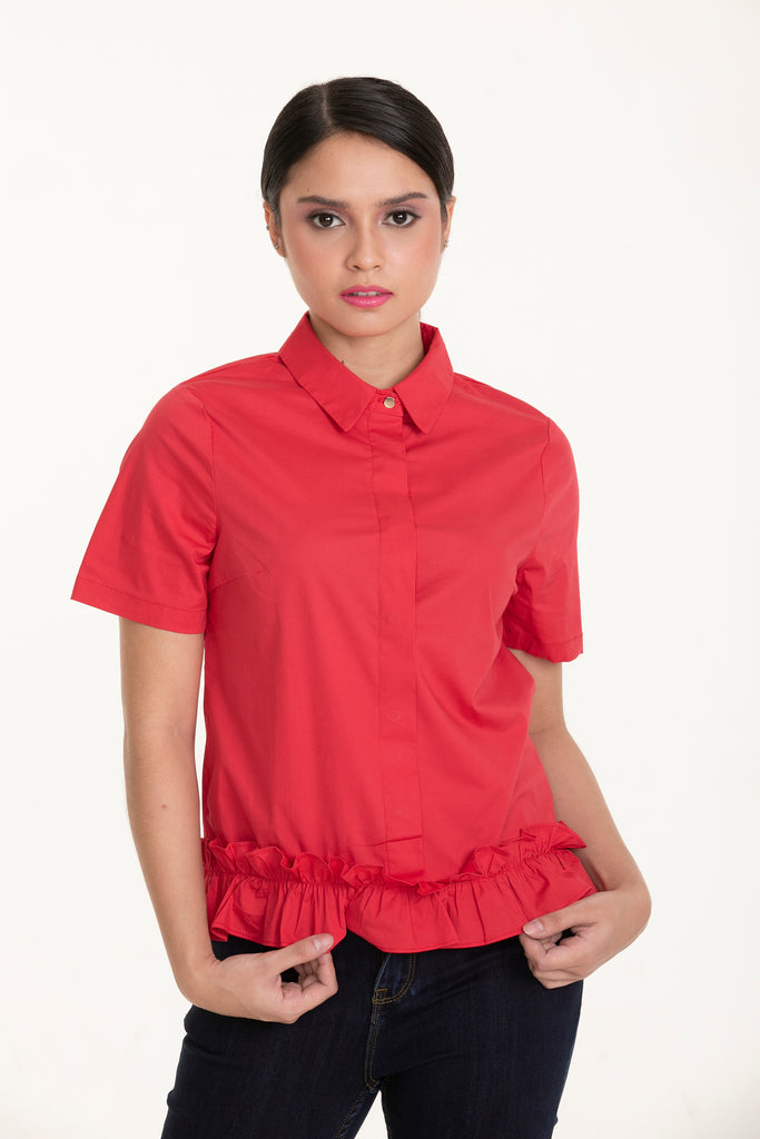 WB-HAZEL-RED-FRONT Short sleeves collared button down blouse with ruffles detail on hem