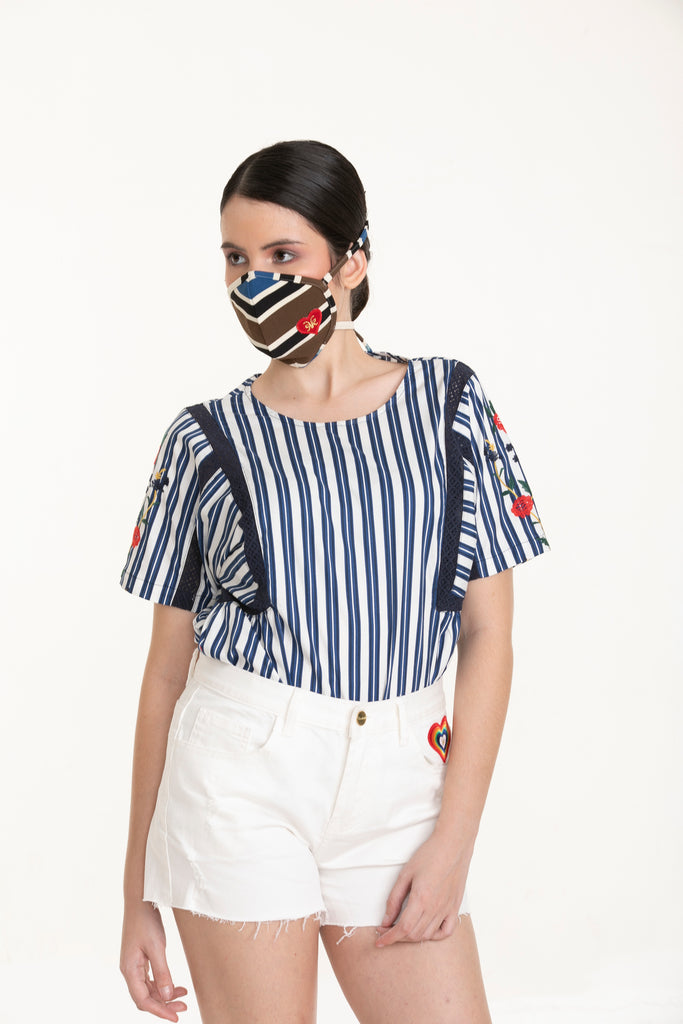 WB-ISABEL-NAVYSTRIPES-FRONT Shorts sleeves round neck blouse with embroidery