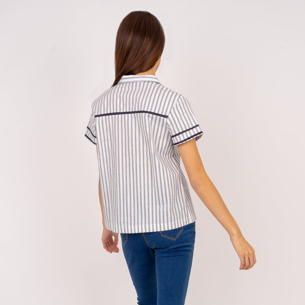 WB-KIANA-NAVYSTRIPES-BACK Short sleeves collared button down blouse with lace detail
