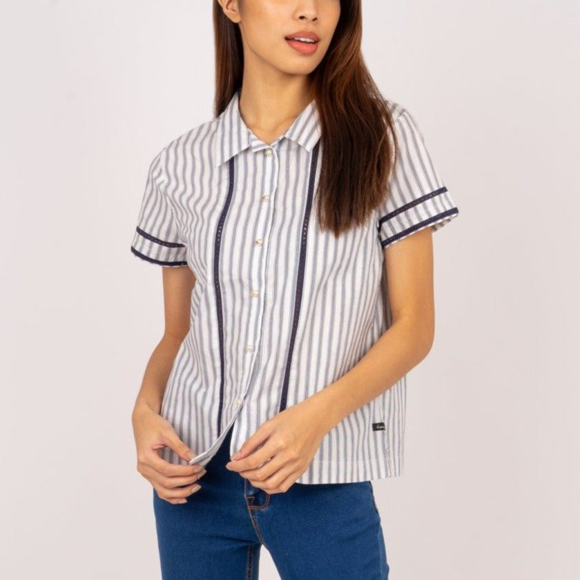 WB-KIANA-NAVYSTRIPES-FRONT Short sleeves collared button down blouse with lace detail