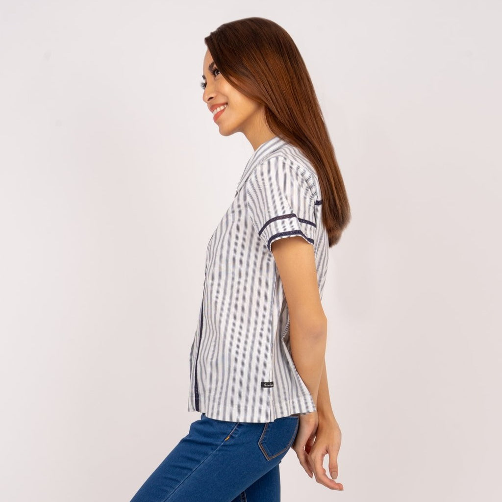 WB-KIANA-NAVYSTRIPES-SIDE Short sleeves collared button down blouse with lace detail