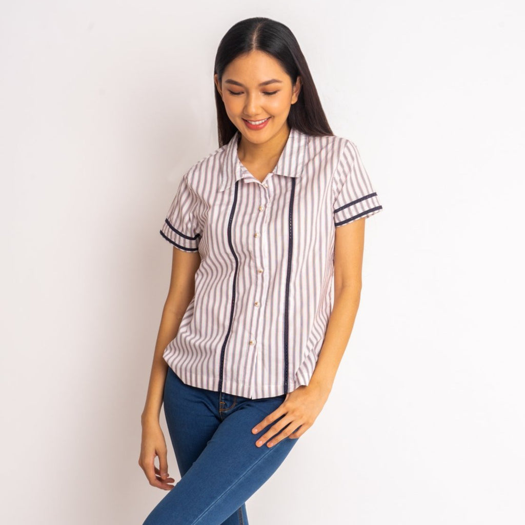 WB-KIANA-RED STRIPES-FRONT Short sleeves collared button down blouse with lace detail