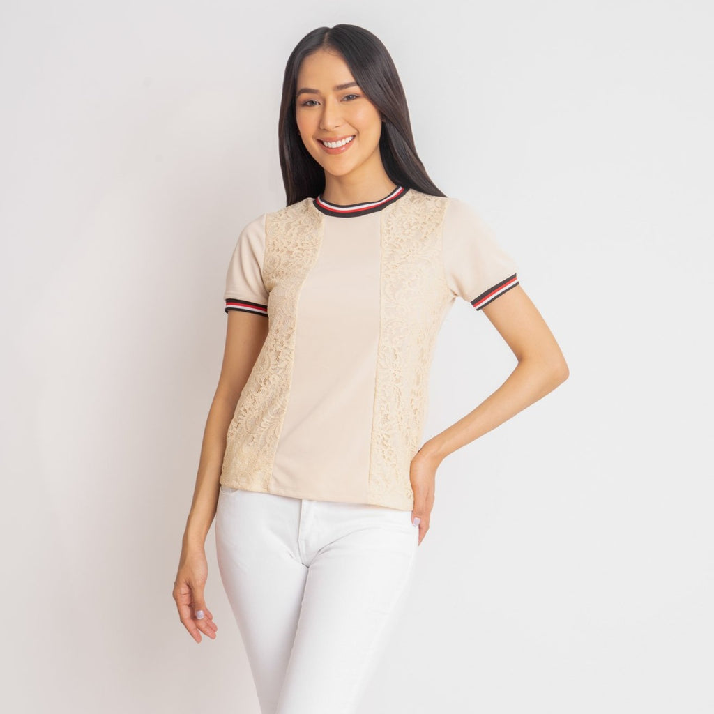 WB-MARIAN-BEIGE-FRONT Short sleeves round neck  blouse with flatknit combi