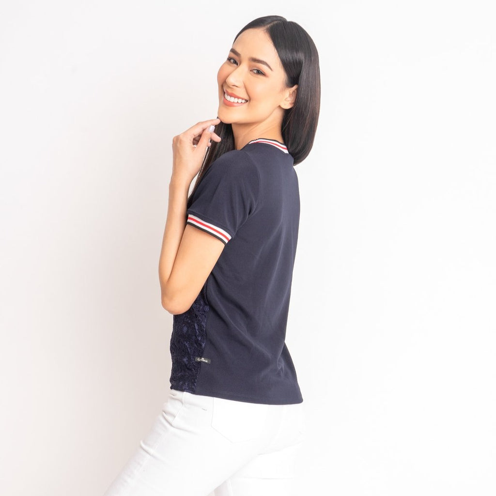 WB-MARIAN-NAVY-BACK Short sleeves round neck blouse with flatknit combi