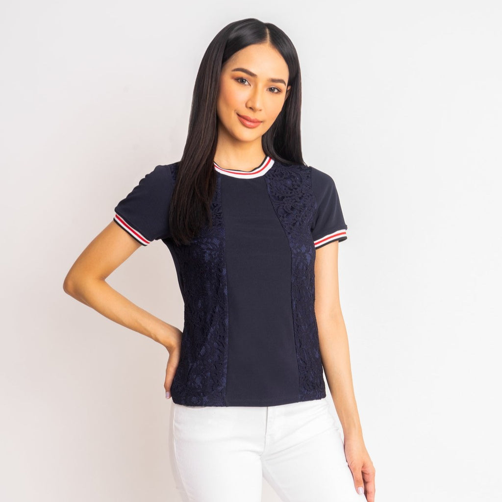 WB-MARIAN-NAVY-FRONT Short sleeves round neck blouse with flatknit combi