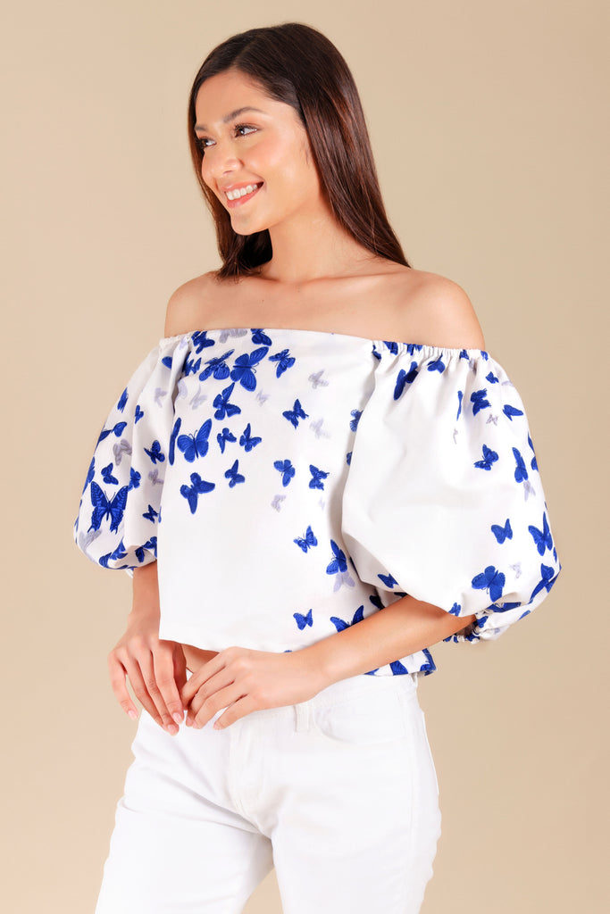 WB-MARIPOSA-P.WHITE-SIDE Square neck cropped blouse with butterfly print