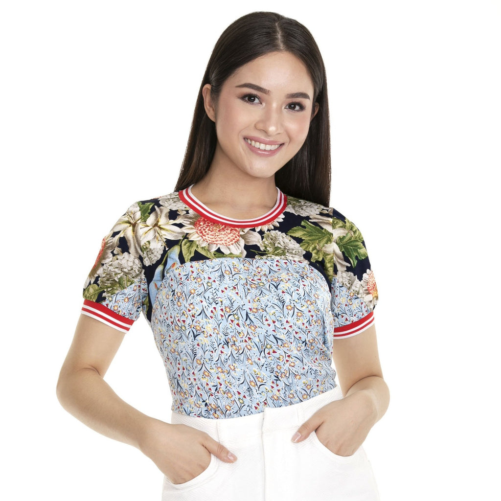 WB-PAMELA-FRONT Short - sleeves round neck blouse with flatknit combi