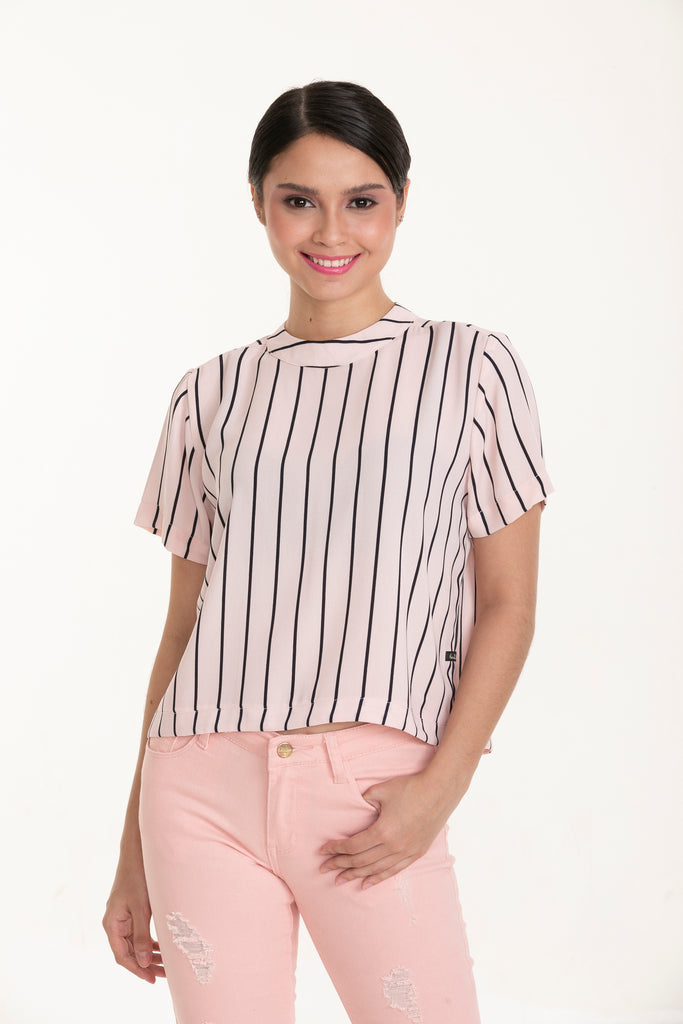 WB-PATRICE-PINKSTRIPES-FRONT Short sleeves round neck blouse cropped blouse