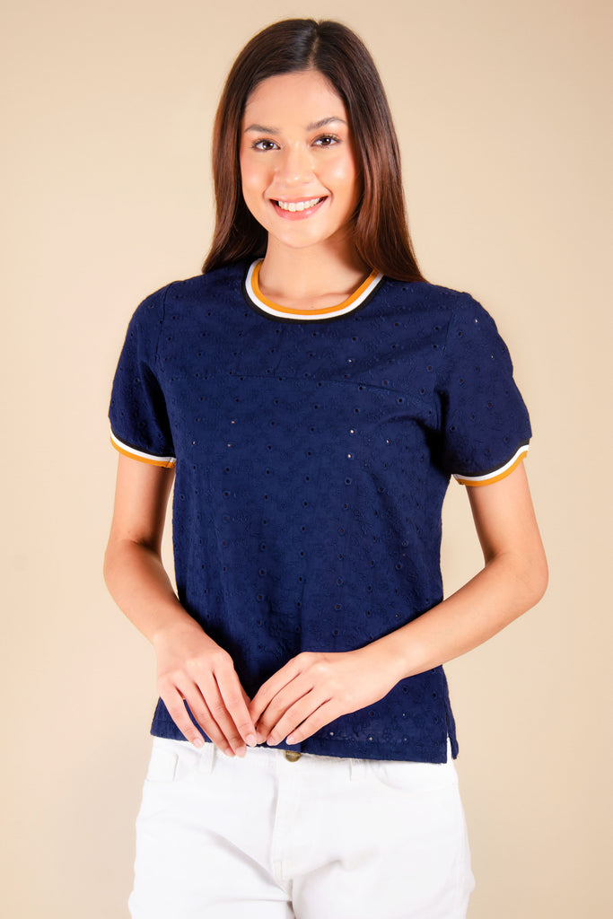 WB-QUINN-NAVY-FRONT Short sleeves round neck blouse with flat knit combi on neckline and sleeves
