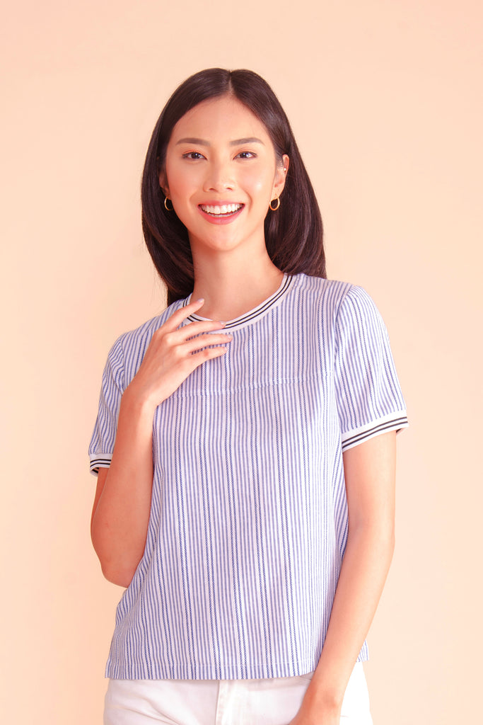 WB-ZINNIA-BLUESTRIPES-FRONT Short sleeves round neck blouse with flat knit combi on neckline and sleeves
