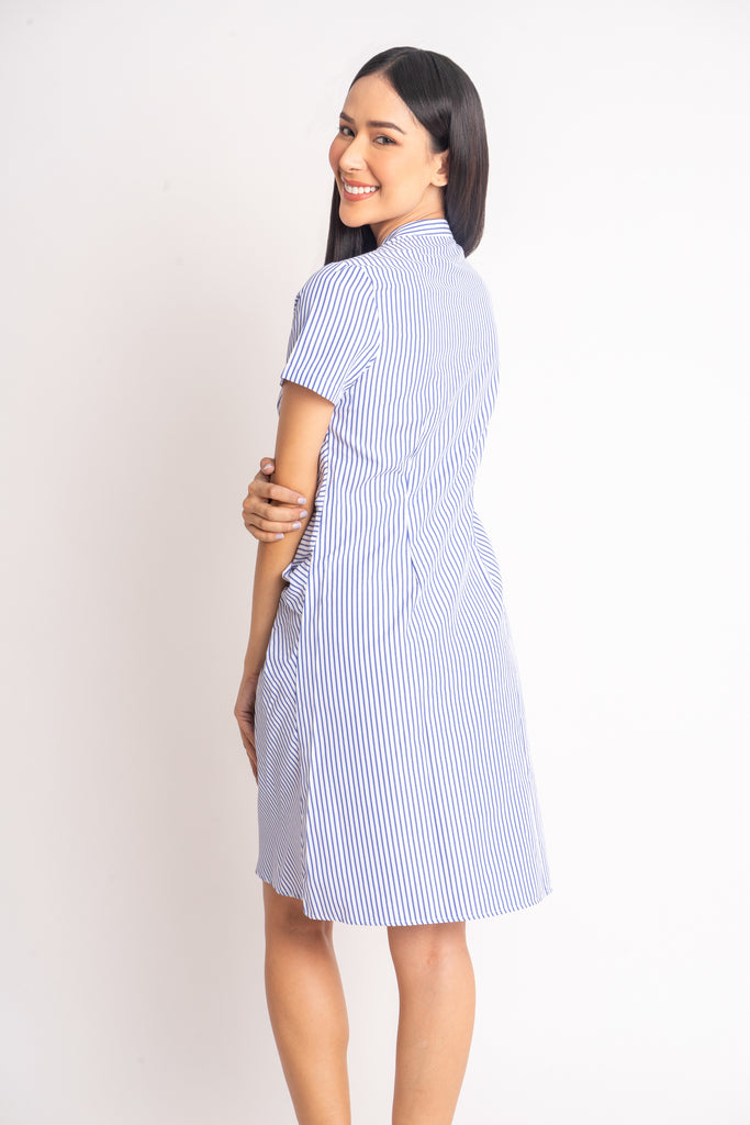 WD DARELLE BLUE STRIPES BACK Short sleeves Chinese collared button down dress with applique & knot detail