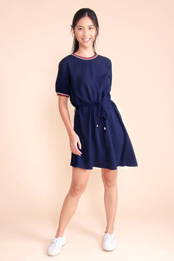 WD-LAYLA-NAVY Short sleeves round neck dress with flat knit combi, tie on waist and asymmetrical hemline