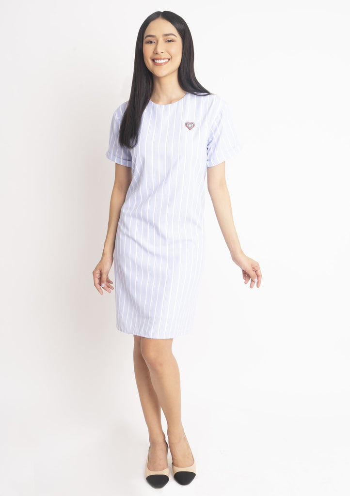 WD-MADISON-BLUESTRIPES-FRONT Shorts sleeves  round neck dress with back keyhole & heart patch