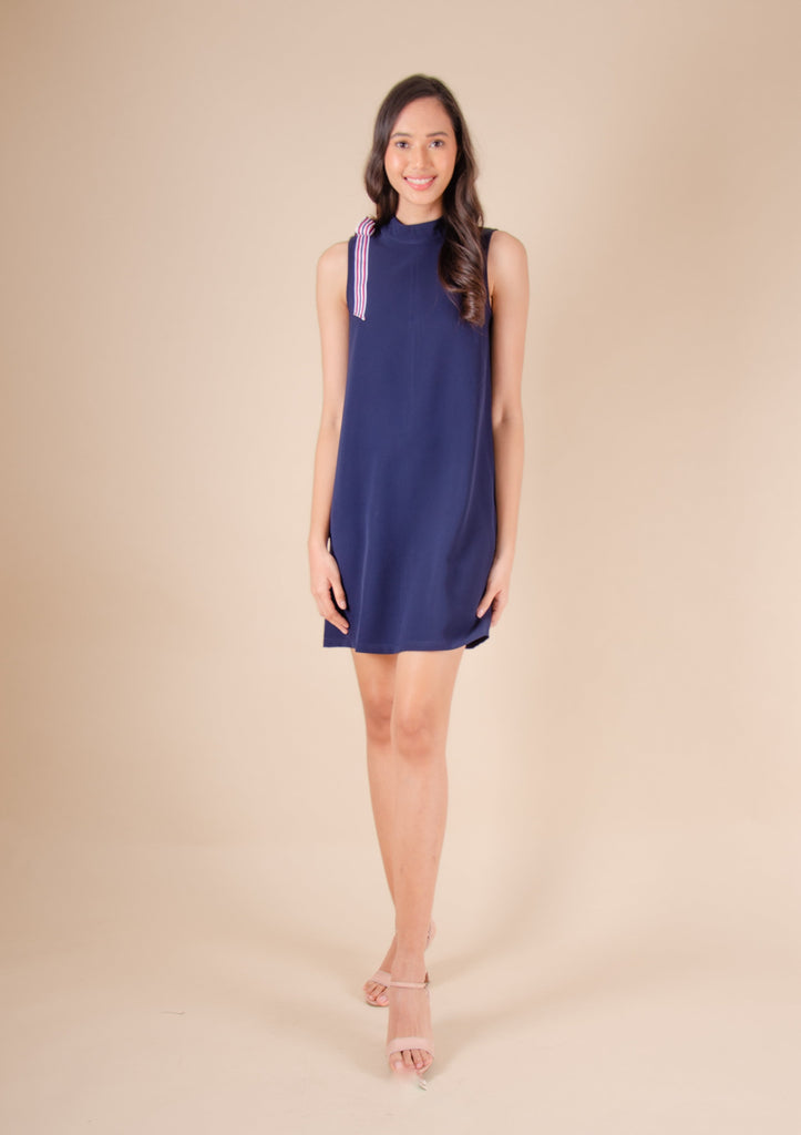 WD-RIO-NAVY Sleeveless round neck dress with ribbon and zipper at the back