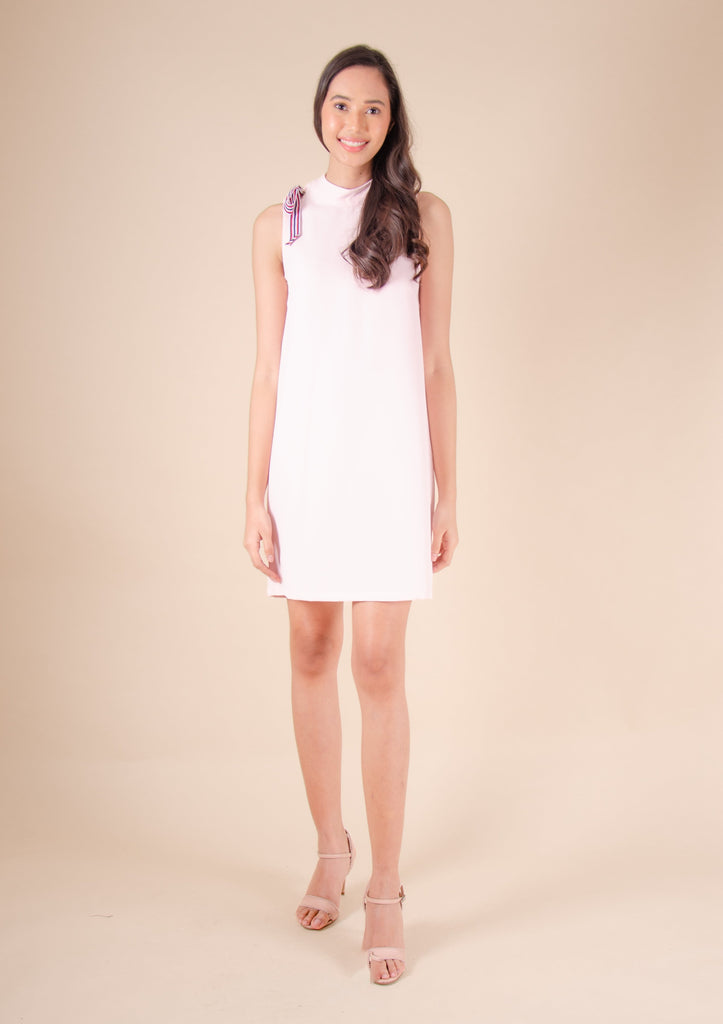 WD-RIO-PINK Sleeveless round neck dress with ribbon and zipper at the back