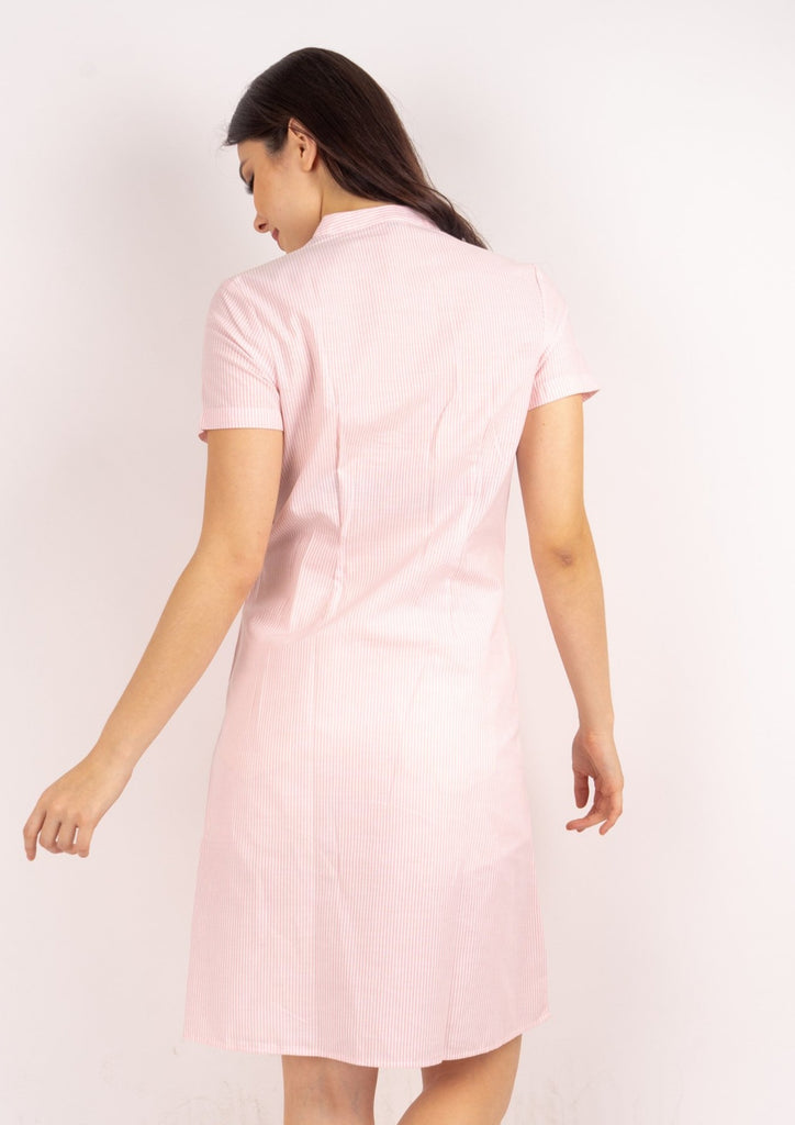 WD DARELLE PINK STRIPES BACK Short sleeves Chinese collared button down dress with applique & knot detail