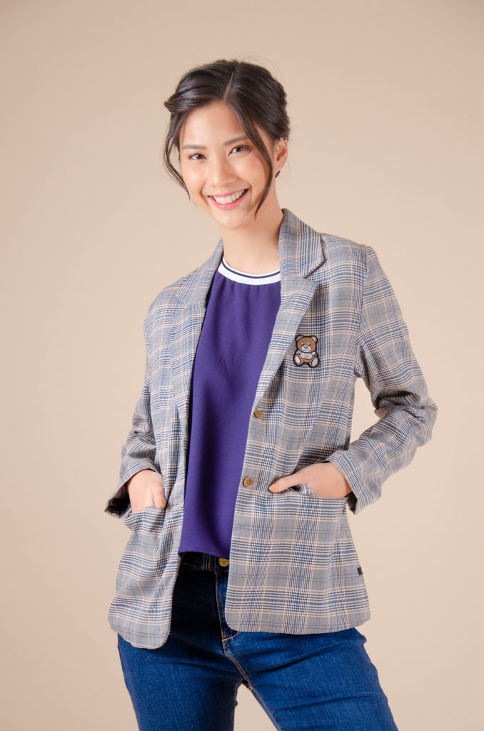 WJ-AIZEL-GRAY_CHECKERED Long sleeves blazer with bear patch detail