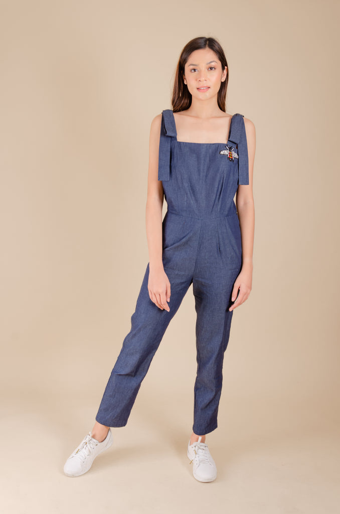 WJ-BELLA-DENIM Sleeveless square neck jumpsuit with strap and applique detail