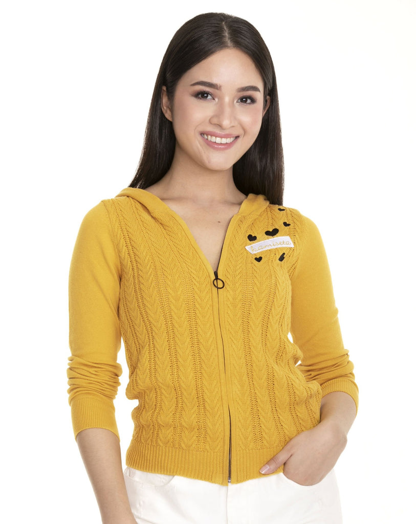 WK-FLYNNE-MUSTARD Long - sleeves hooded zip up knitted jacket with heart embro