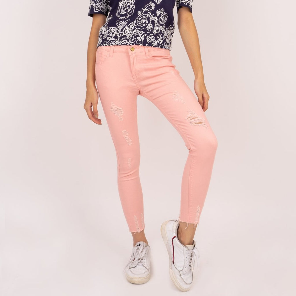 WP-ALICE-PINK-FRONT 5 Pocket ripped jeans with heart patch detail on back