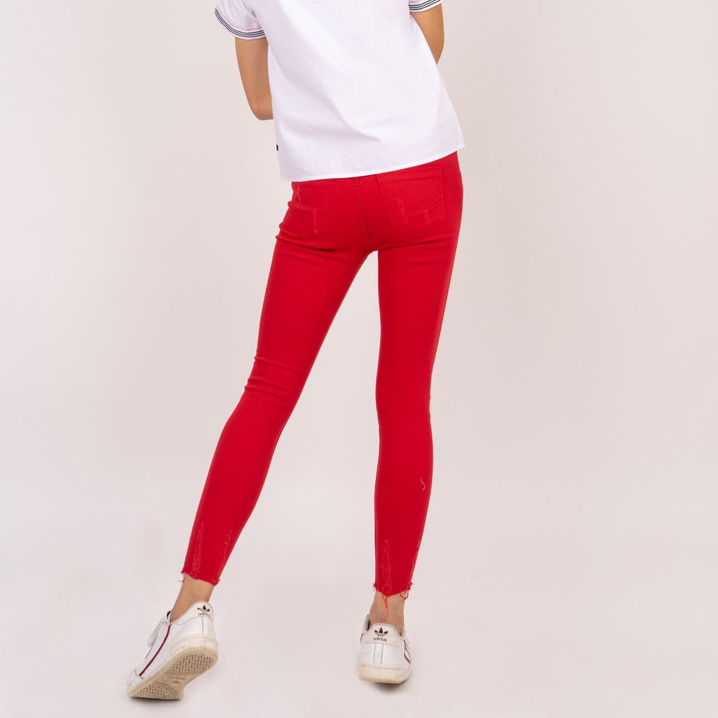 WP-ALICE-RED-BACK 5 Pocket ripped jeans with heart patch detail on back