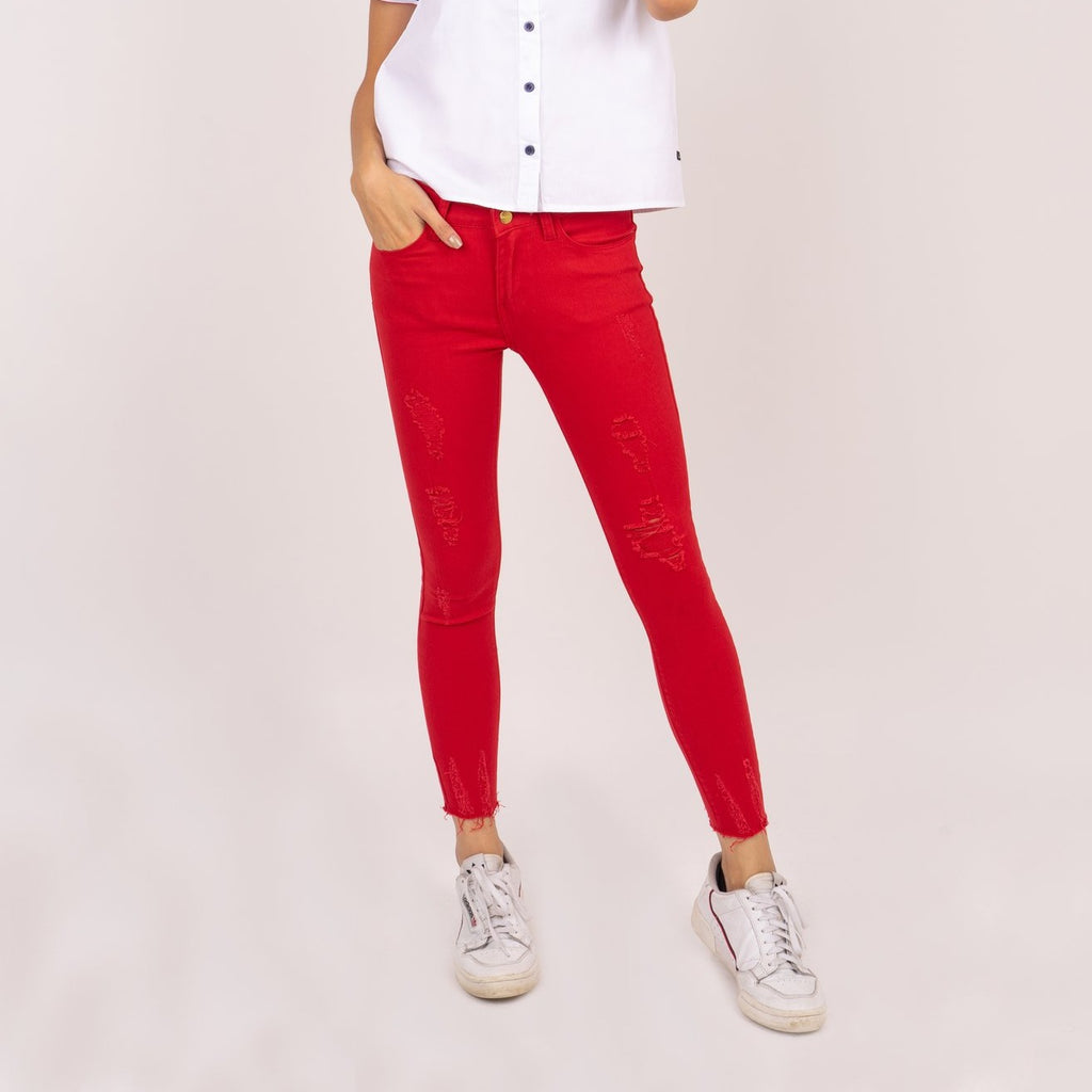 WP-ALICE-RED-FRONT 5 Pocket ripped jeans with heart patch detail on back