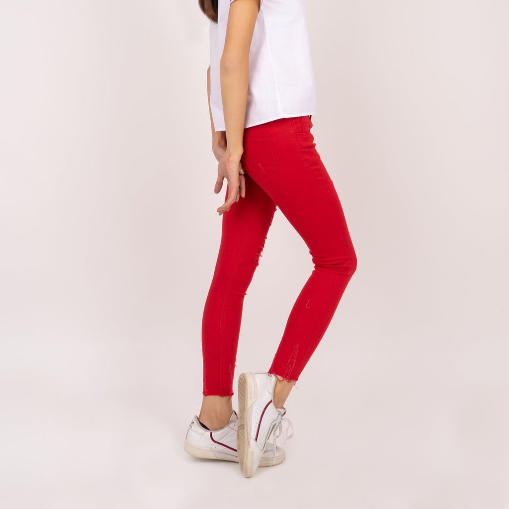 WP-ALICE-RED-SIDE 5 Pocket ripped jeans with heart patch detail on back