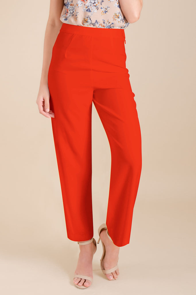 WP-DRIZZLE-RED-FRONT Long pants with side zipper & button details on hem