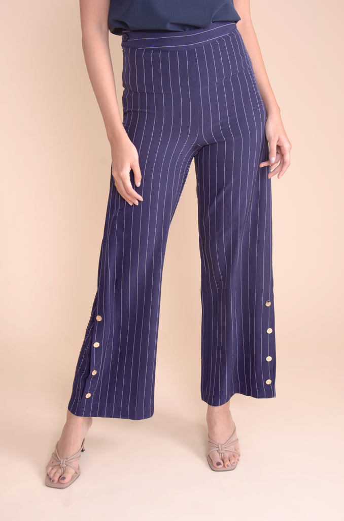 WP-JEIHAN-NAVY-FRONT2 Flared stripes long pants with side zipper & button details on hem