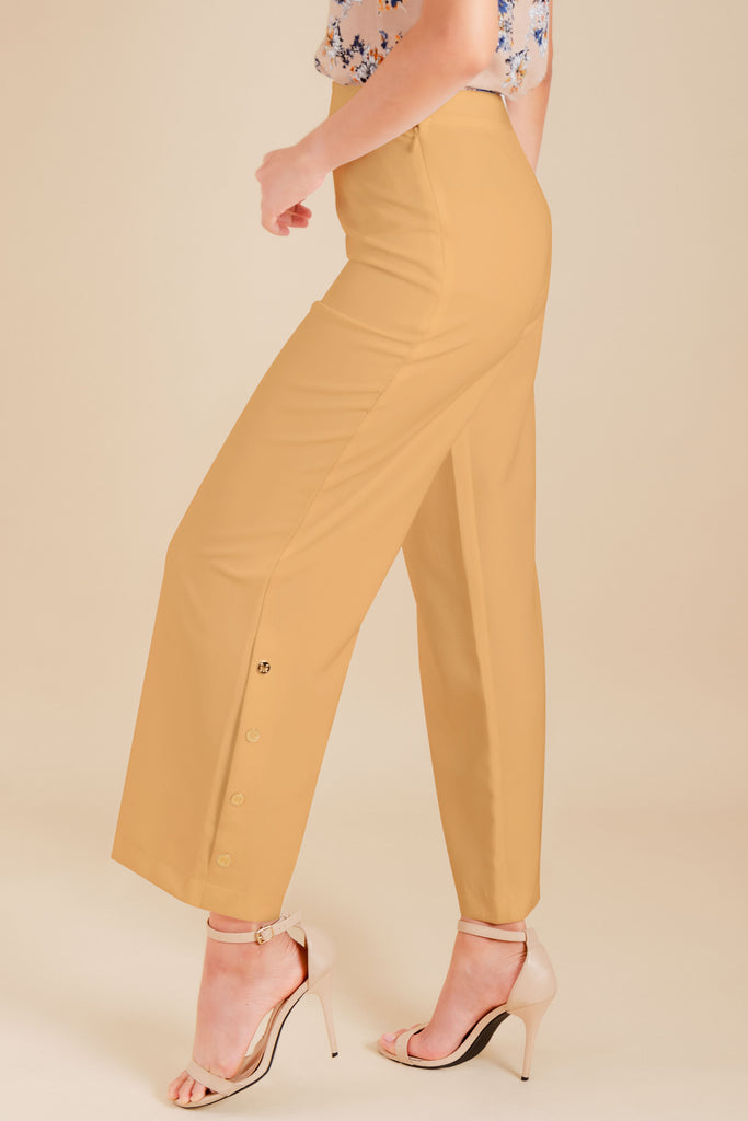 WP-YESHIA-BEIGE-BACK Flared long pants with side zipper & button details on hem