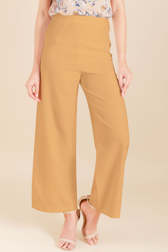 WP-YESHIA-BEIGE-FRONT Flared long pants with side zipper & button details on hem
