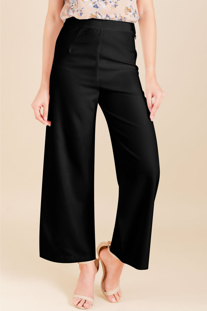 WP-YESHIA-BLACK-FRONT Flared long pants with side zipper & button details on hem