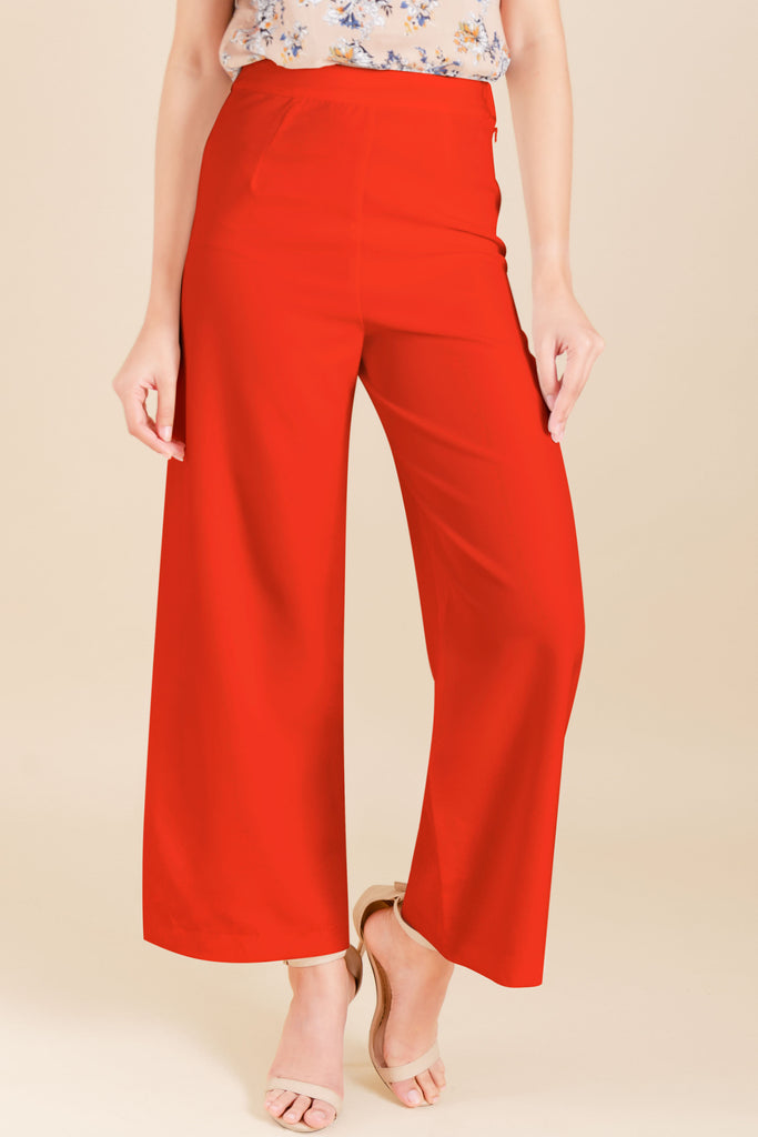 WP-YESHIA-RED-FRONT Flared long pants with side zipper & button details on hem