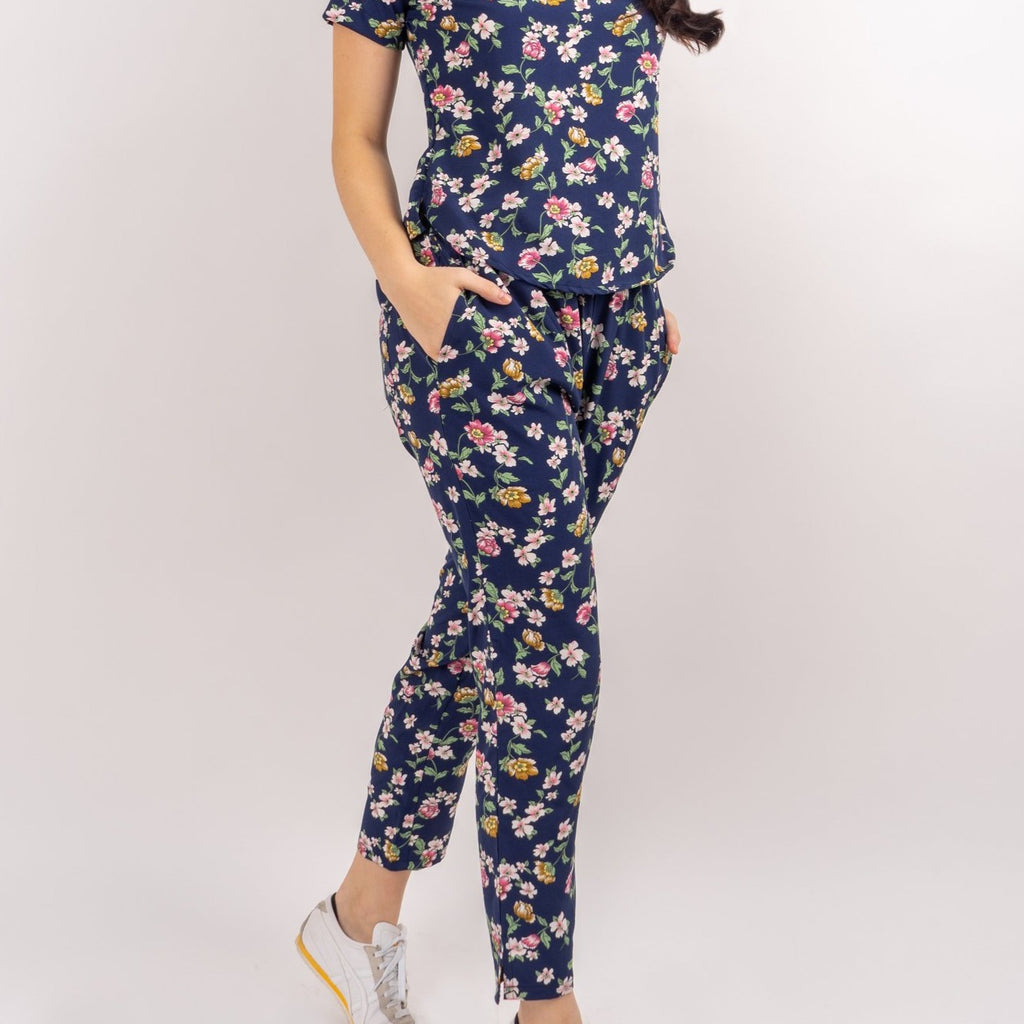 WP DIONE-FLORAL NAVY-FRONT Square Pants with Two Front Pockets and Side Zipper