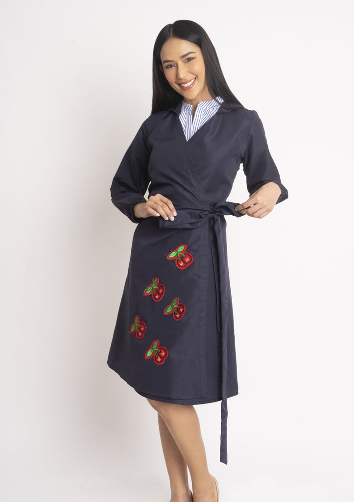 WRAPPPEDRESSWITHCHERRYPATCHES-FRONT Long sleeves hooded wrap around dress with cherry patches