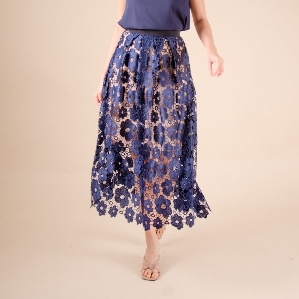 WS-FLOREEN-NAVY Long skirt with waistband