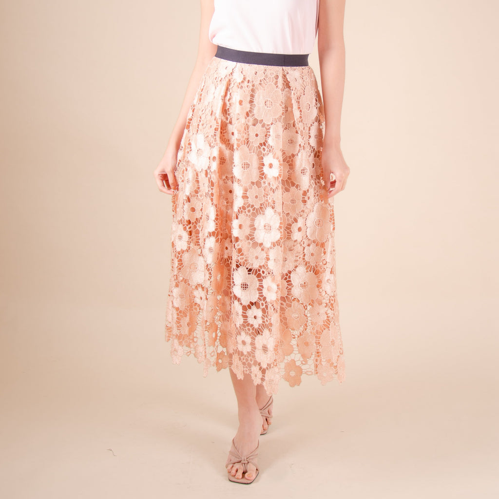 WS-FLOREEN-TAN Long skirt with waistband