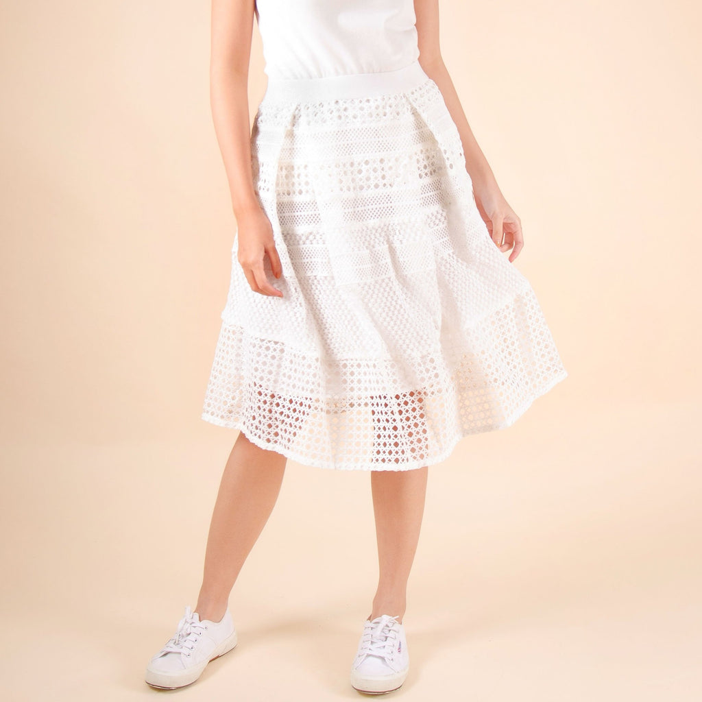 WS-LIYANA-WHITE Below the knee lace skirt