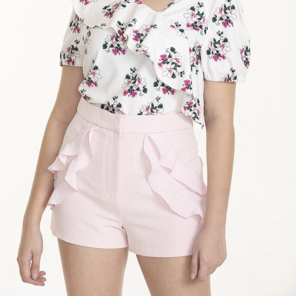WS-LUELLA-LT PINK-FRONT Shorts with ruffles detail