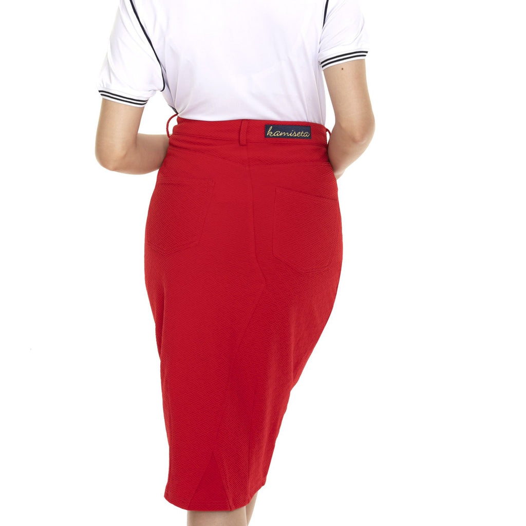 WS-MARISSA-BACK-RED Below the knee pencil cut skirt with Kamiseta patch embro on back waist band