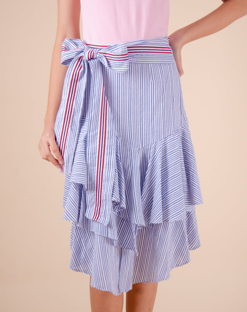 WS-SADIE-BLUE_STRIPES Layered skirt with ribbon on waistband