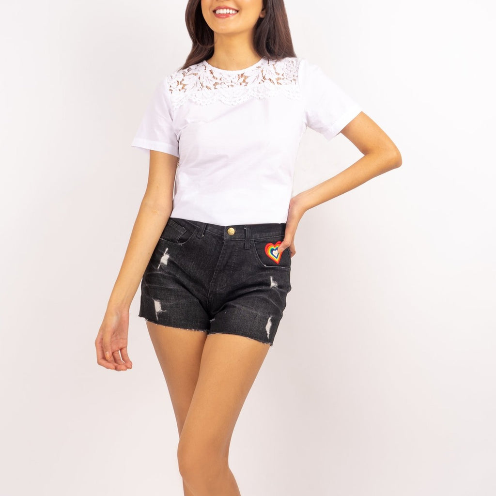 WS ELOISA-BLACK-FRONT 5 Pocket Ripped Denim Shorts with Multicolored Patch on Front Pocket