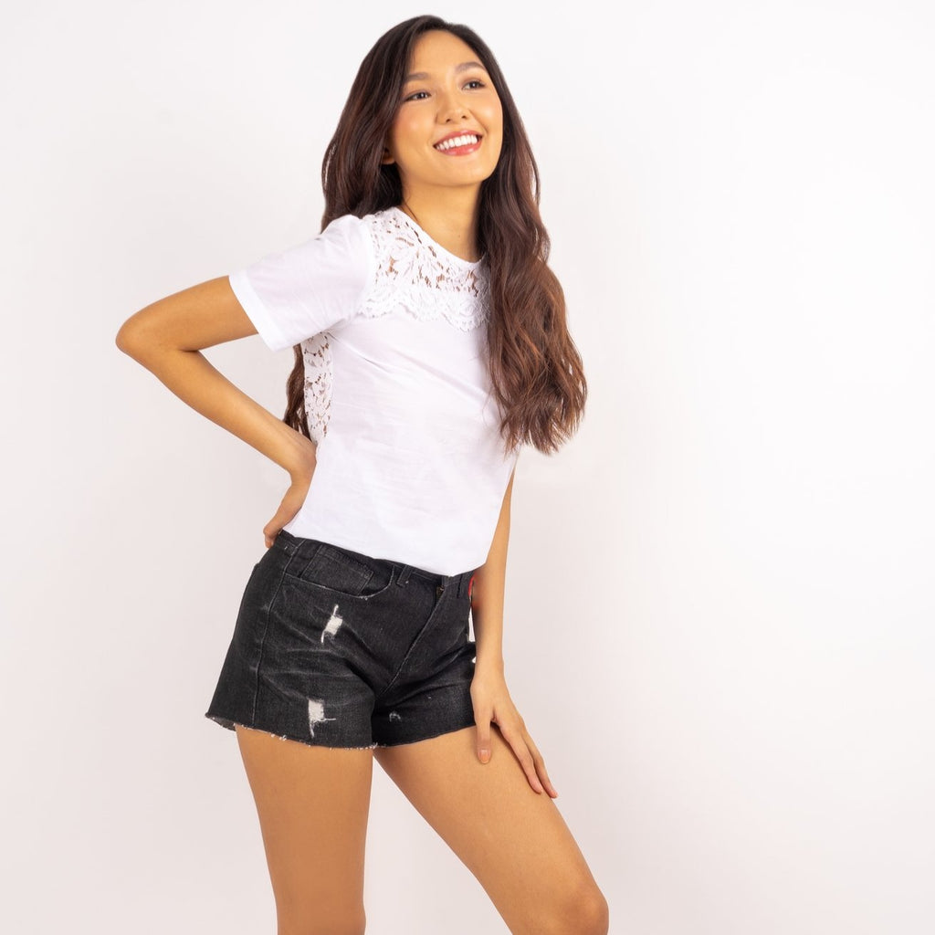 WS ELOISA-BLACK-SIDE 5 Pocket Ripped Denim Shorts with Multicolored Patch on Front Pocket