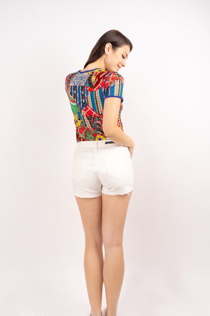 WS ELOISA-WHITE-BACK 5 Pocket Ripped Denim Shorts with Multicolored Patch on Front Pocket